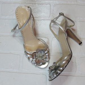 Kate Spade Silver Floral Detail Formal Heels